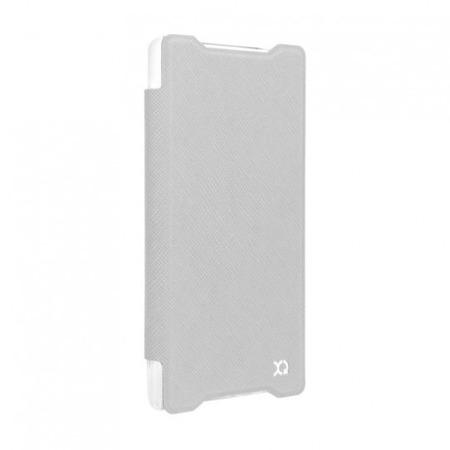 Etui XQISIT do Sony Xperia Z5 skórzane - białe, tył przeźroczysty