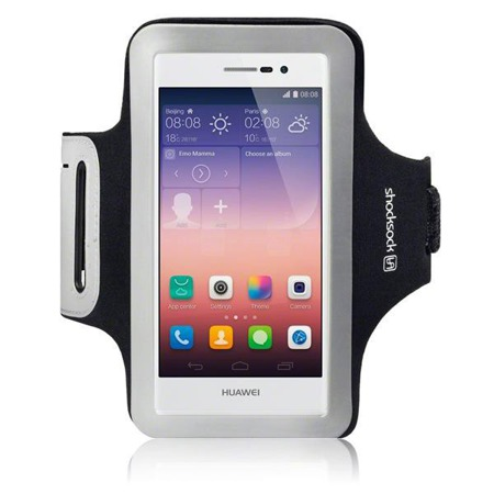 Etui sportowe Shocksock do Huawei Ascend P7 odblaskowe - czarny
