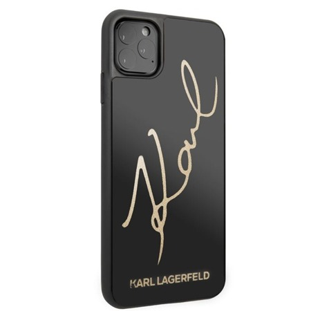 KARL LAGERFELD DOUBLE LAYERS TEMPERED GLASS GLITTER SIGNATURE CASE - ETUI IPHONE 11 PRO MAX (CZARNY)