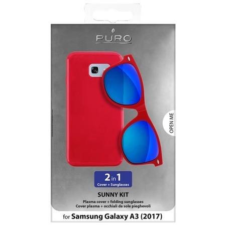 Puro Sunny Kit - zestaw etui  Samsung Galaxy A3 (2017) + składane okulary przeciwsłoneczne (CZERWONY)