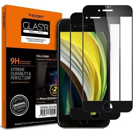 SZKŁO HARTOWANE SPIGEN GLASS FC 2-PACK IPHONE 7/8/SE 2020 BLACK